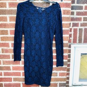 Zara Navy Lace Form Fitting Stretch Knit Dress